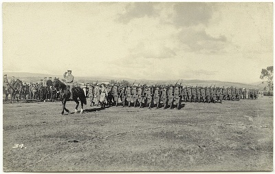 Tasmanian soldiers on parade at Brighton army camp in 1914