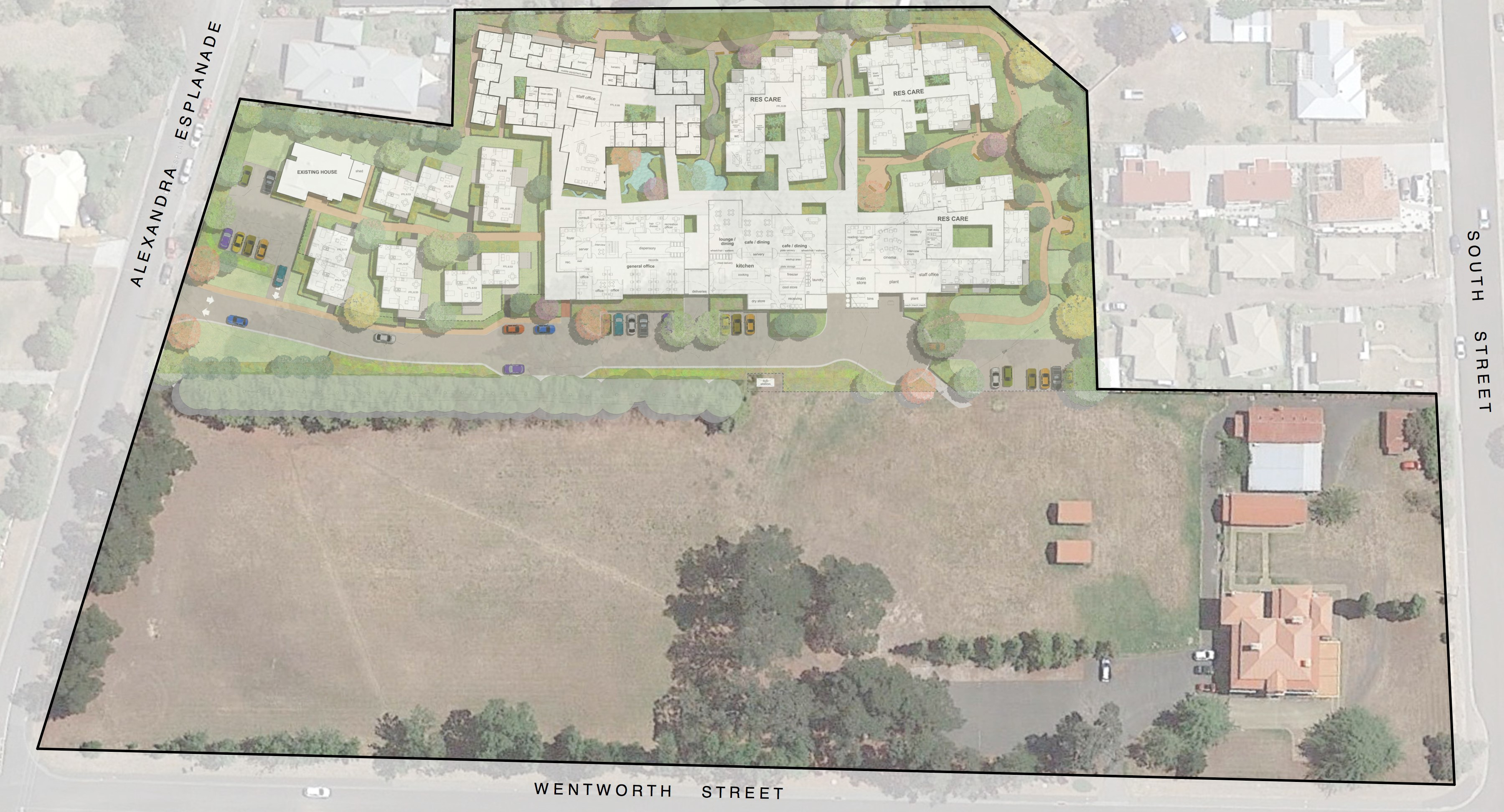 Overlay of the proposed development at the proposed site, Wirksworth Park