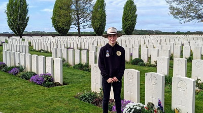 Lydia Kelly in military cemetery