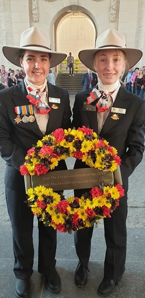 Two young women with a wreath