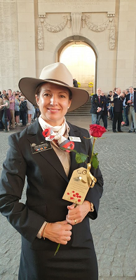 Kristy Broomhall holding a rose