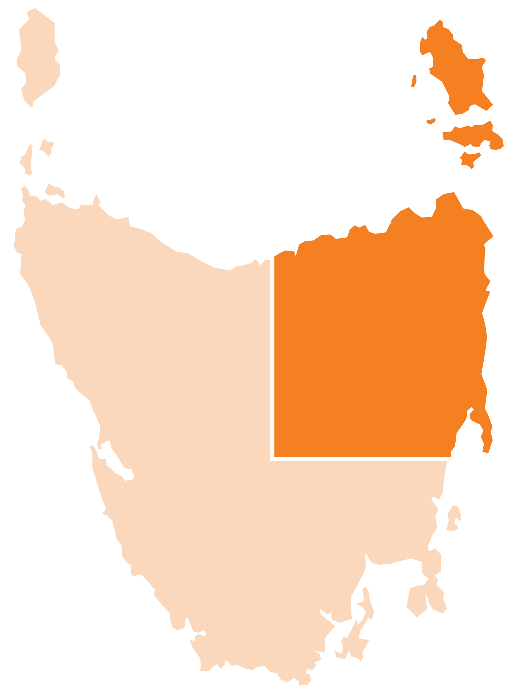 Map of Tasmania and the North highlighted