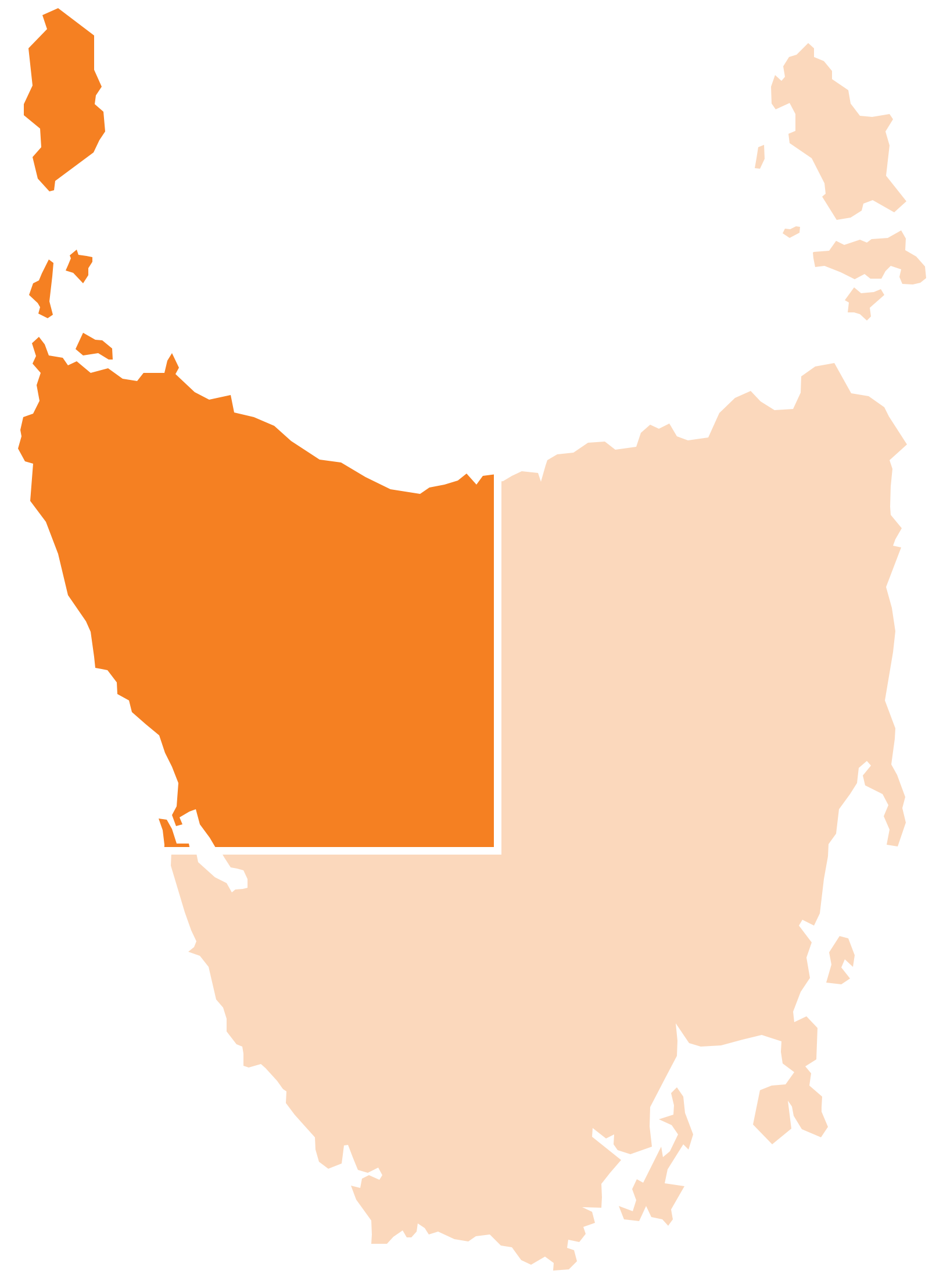 Map of Tasmania and the North West highlighted