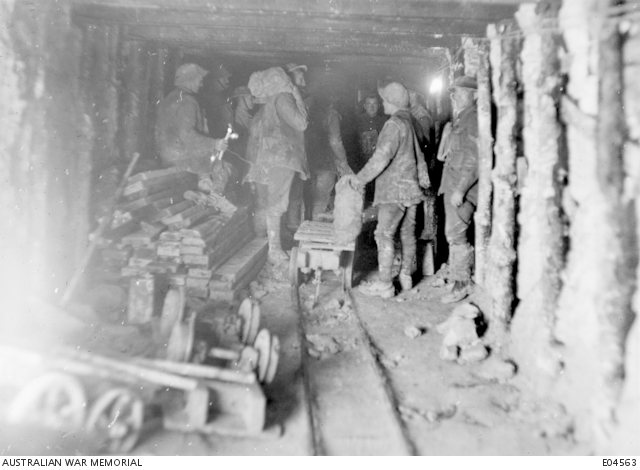 soldiers in a tunnel