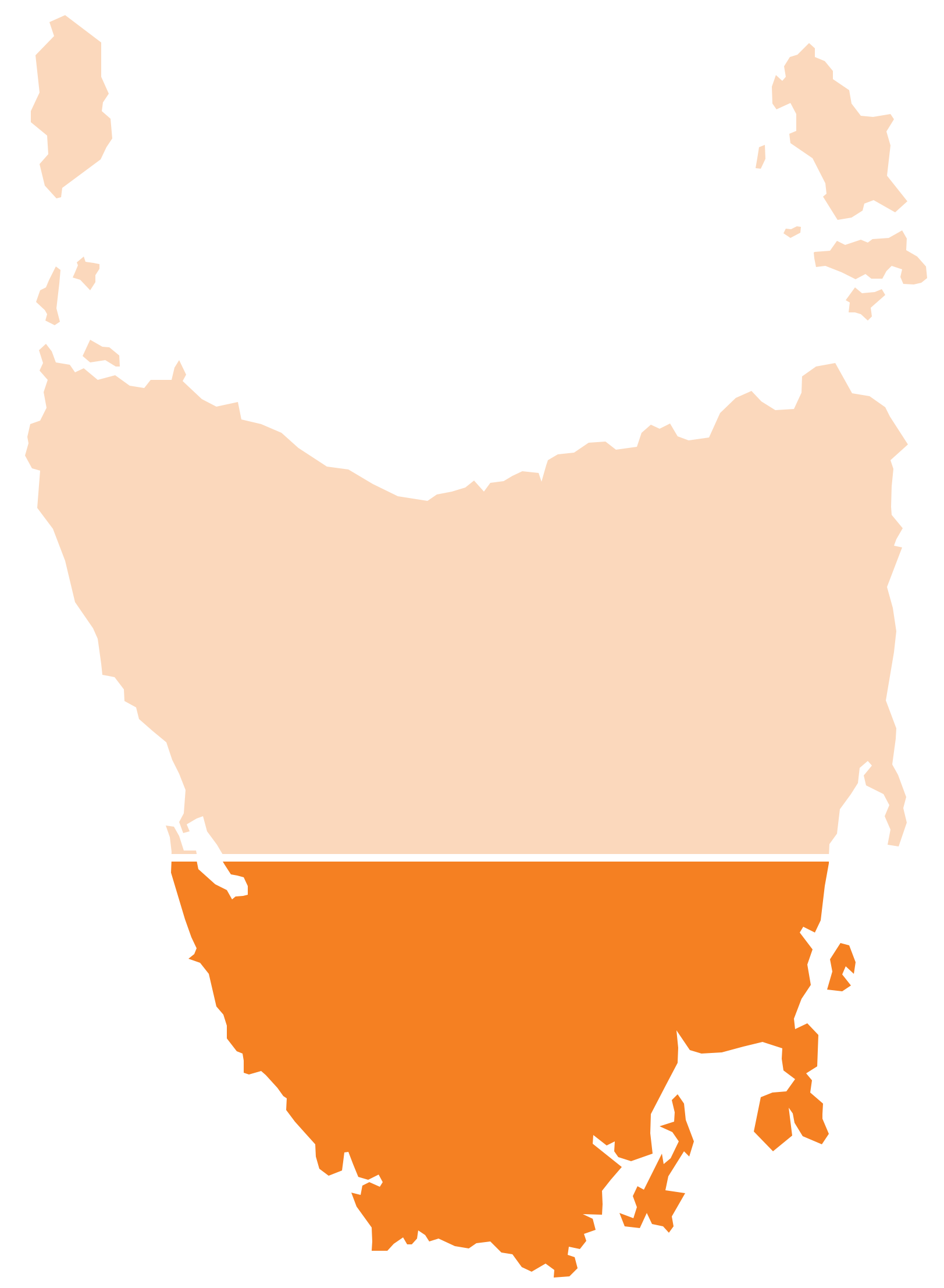 Map of Tasmania and the South highlighted