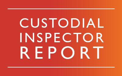 White wording saying Custodial Inspector Report on orange background