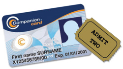 Companion Card ,logo and admit 2 ticket