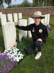 Lydia Kelly at a World War One grave