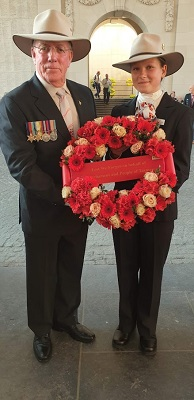 Hon Kerry Finch MLC and Nell Hentschel with a wreath