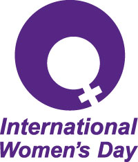 International Women's Day logo has the women's symbol and arrow