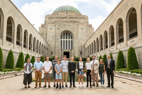 Members of the Frank MacDonald Memorial Study Tour 2020 at the Australian War Memorial